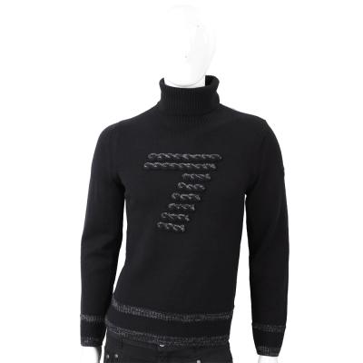 EMPORIO ARMANI 數字7毛線編織設計黑色套頭針織羊毛衫