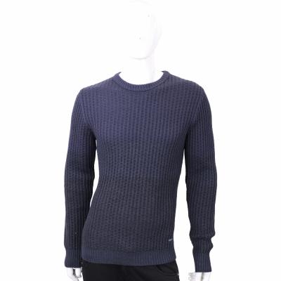 TRUSSARDI 深藍色竹節針織羊毛衫
