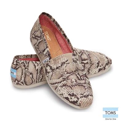 TOMS經典帆布蛇紋懶人鞋-女款(米白)