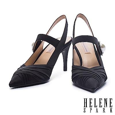 高跟鞋 HELENE SPARK 奢華復古白鑽珍珠設計絲緞尖頭繫帶高跟鞋-黑