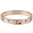 MK Michael Kors 低調奢華白鑽鉚釘扣式手環(玫瑰金色)