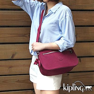 Kipling 斜背包 莓紫素面-中