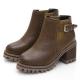 JMS-彈性鬆緊搭釦厚底高跟短靴-棕色
