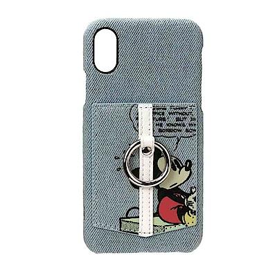 【日本 PGA-iJacket】iPhone X迪士尼皮革口袋造型指環背蓋