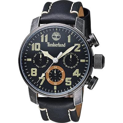 Timberland Mascoma II 飛行日曆腕錶-黑x仿舊錶殼/45mm