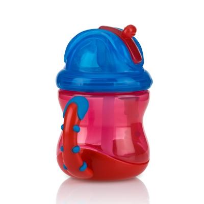 Nuby 雙耳防漏彈跳吸管水杯240ml-藍紅(12m+)