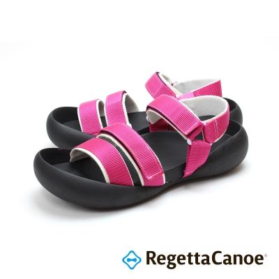 RegettaCanoe-三條滾邊寬帶 可調式樂步鞋-粉紅