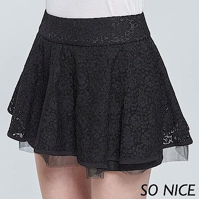 SO NICE優雅蕾絲短裙褲
