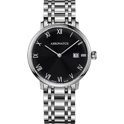 AEROWATCH Heritage系列尊爵時尚石英腕錶-黑x銀/40mm