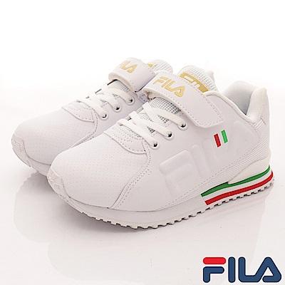 FILA頂級童鞋 義式簡約慢跑款410S-129白(中大童段)