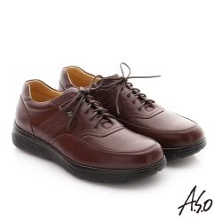 A.S.O  職場通勤 超能耐綁帶牛皮縫線紳士皮鞋 咖啡色