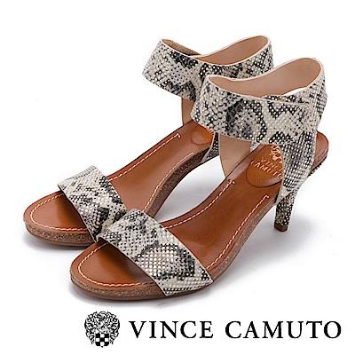 Vince Camuto 寬版繞踝一字細跟涼鞋-蛇紋