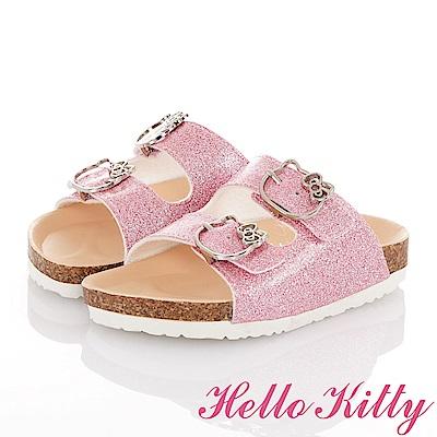 HelloKitty 俏麗金蔥輕便減壓吸震腳床型拖鞋童鞋-粉