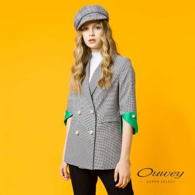 OUWEY歐薇 都會簡約珠飾格紋外套(黑)
