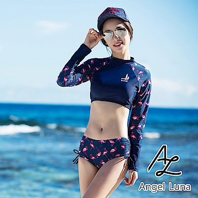 【AngelLuna】紅鶴兩件式水母衣泳裝(日本直送3-10天到貨)