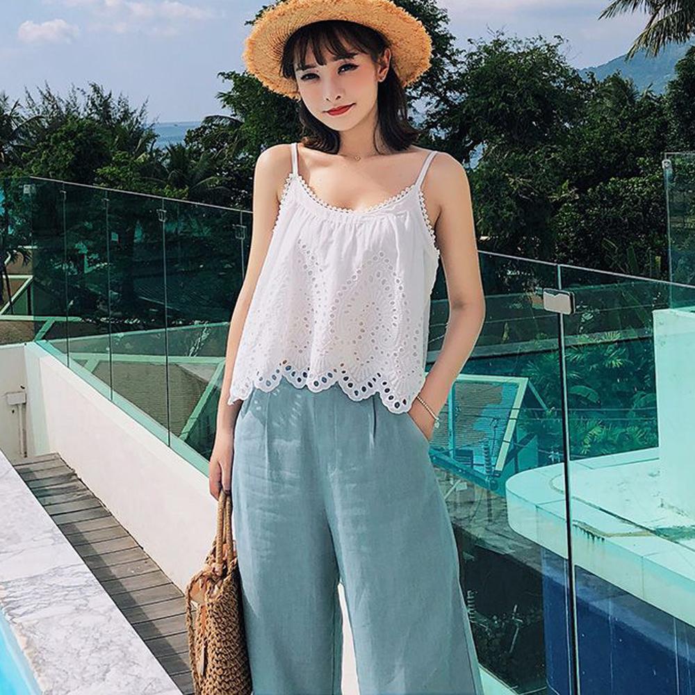 吊帶上衣+棉麻七分寬褲兩件套 (白+藍色)-Kugi Girl