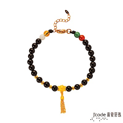 J'code真愛密碼 流金年華黃金/黑瑪瑙手鍊
