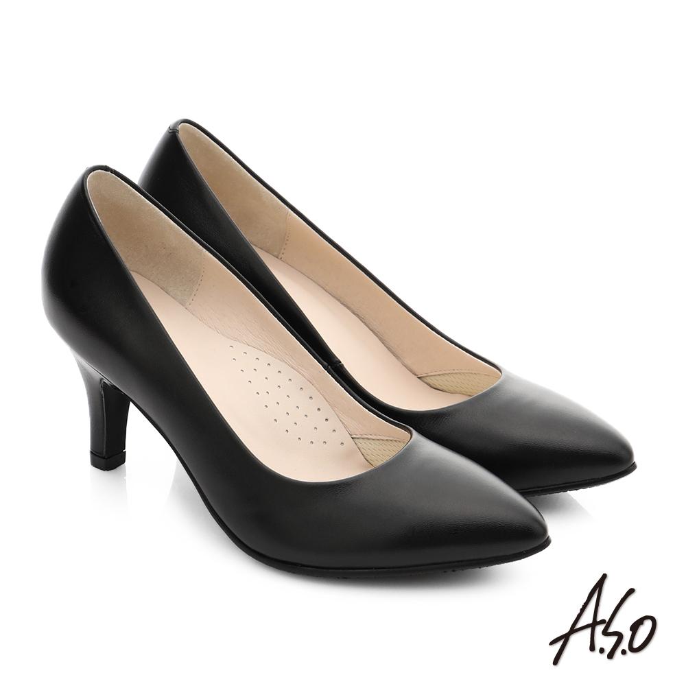 A.S.O 職人通勤 全真皮素面窩心高跟鞋 黑色