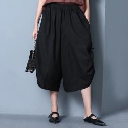 La Belleza側抽繩皺抽皺棉麻褲裙鬆緊腰七分闊腿褲裙