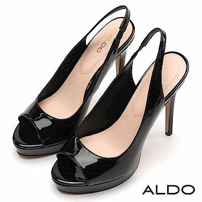 ALDO 都會原色亮面魚口剪裁拉帶式細高跟涼鞋~尊爵黑色