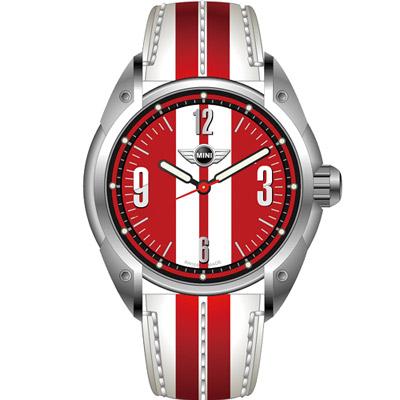 MINI Swiss Watches  休閒運動腕錶-白+紅/紅面/45mm