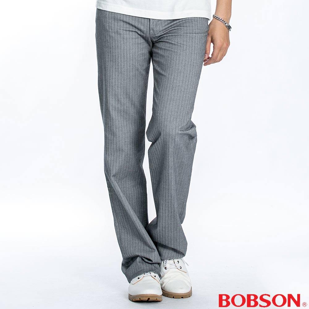 BOBSON 男款人字斜紋伸縮直筒褲(淺灰1740-82)
