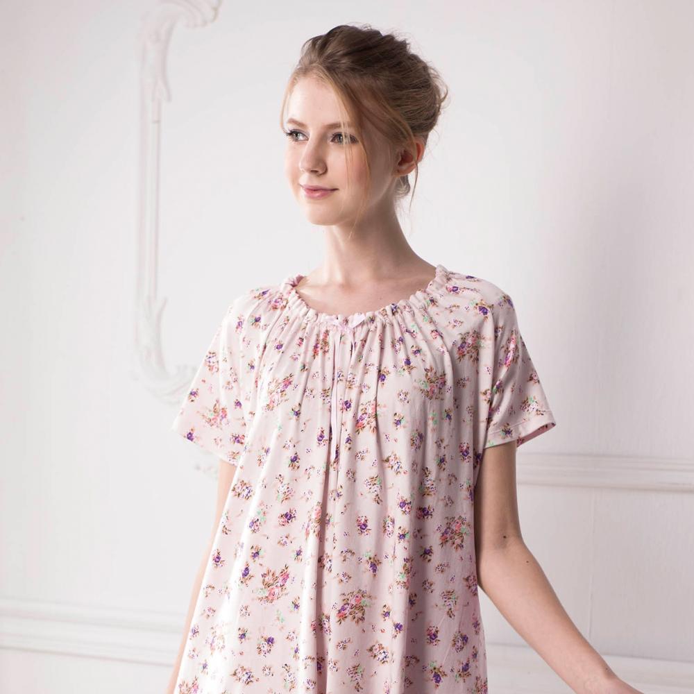 羅絲美睡衣 - 牧蓿情人短袖洋裝睡衣(甜美粉)