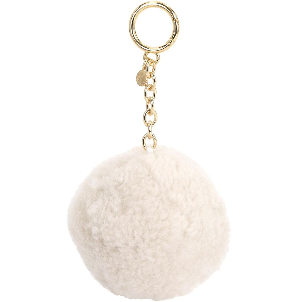 Michael Kors Shearling Pom Pom羊毛毛球吊飾/鑰匙圈(米白色)