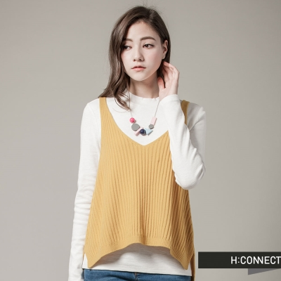 H-CONNECT-韓國品牌-女裝-純色V領針織背心-黃