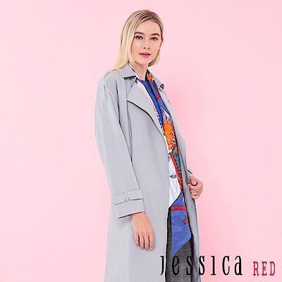 JESSICA RED - 率性翻領設計長版風衣(灰藍)