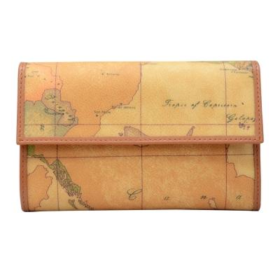 Alviero Martini 義大利地圖包 扣式8卡拉鍊零錢中長夾-地圖黃