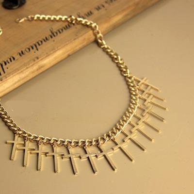 Aimee-Toff-龐克白色十字串連項鍊