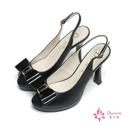 達芙妮DAPHNE 經典再現立體蝴蝶結魚口高台鞋-美型黑
