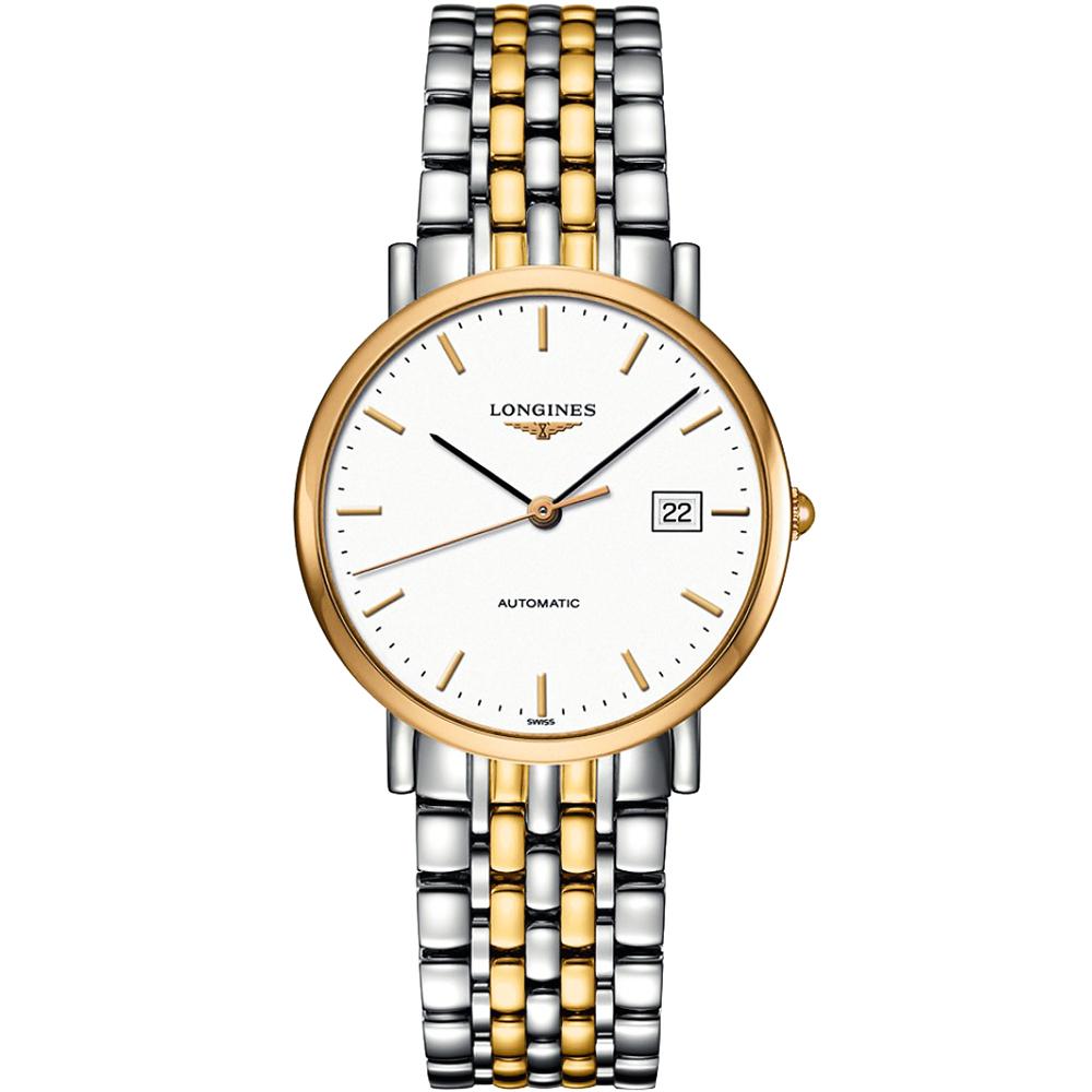 LONGINES Elegant Collection典雅機械腕錶-白x雙色版/37mm L48105127
