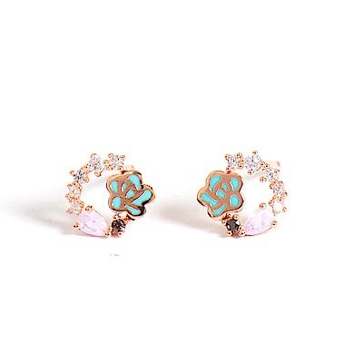 微醺禮物 正韓 鍍K金針 粉綠鍍金玫瑰 小花圈 鏤空 水滴鋯 簡約精緻可愛春天 耳針 耳環