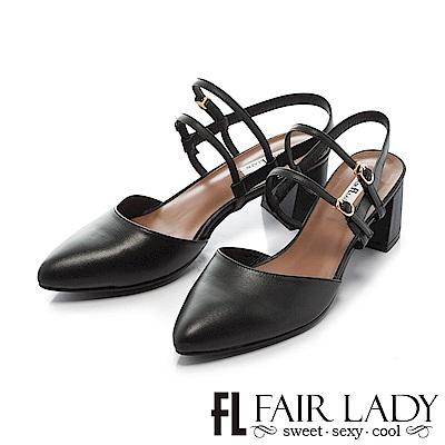 Fair Lady 優雅小姐Miss Elegant 復古雙繫帶粗跟尖頭涼鞋 黑