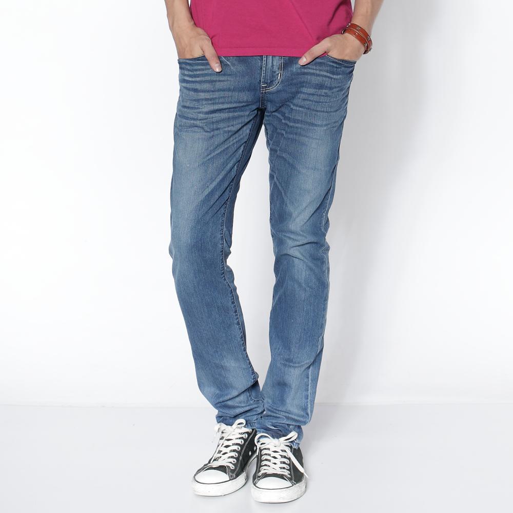 EDWIN 瞬間涼感 B.T COOL 玉纖維窄直筒牛仔褲-男-石洗藍