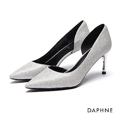 達芙妮DAPHNE 高跟鞋-金蔥挖空尖頭細高跟鞋-銀