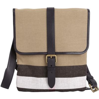BURBERRY CANVAS 拼接帆布格紋肩背扁包(黑色)