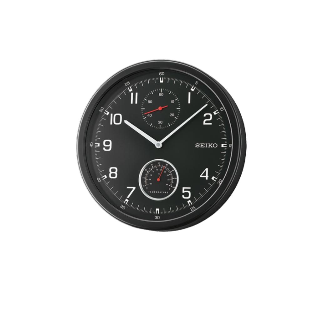 SEIKO 日本精工 滑動式秒針 溫度顯示 靜音掛鐘(QXA542J)-黑/35cm
