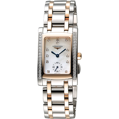 LONGINES DolceVita 18K真鑽獨立小秒針腕錶-珍珠貝x雙色版/23mm