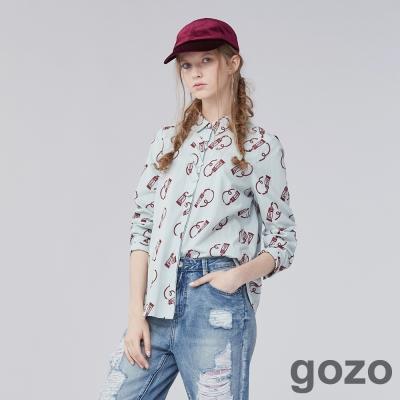 gozo 畫家顏料圖案綴帶設計襯衫上衣 (二色)