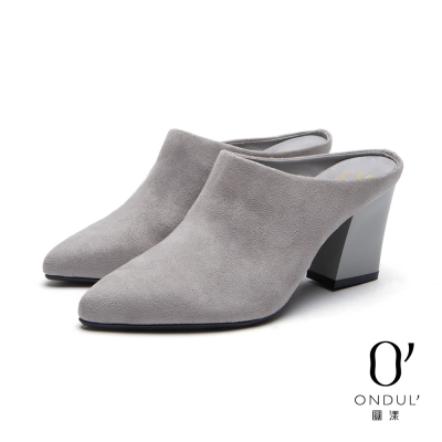 達芙妮x高圓圓-圓漾系列-高跟鞋-素絨面尖頭粗跟穆勒鞋-灰