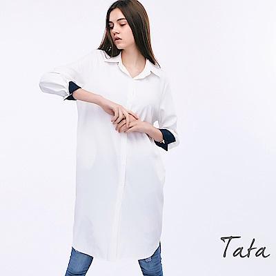 長版翻領不規則下擺上衣 TATA