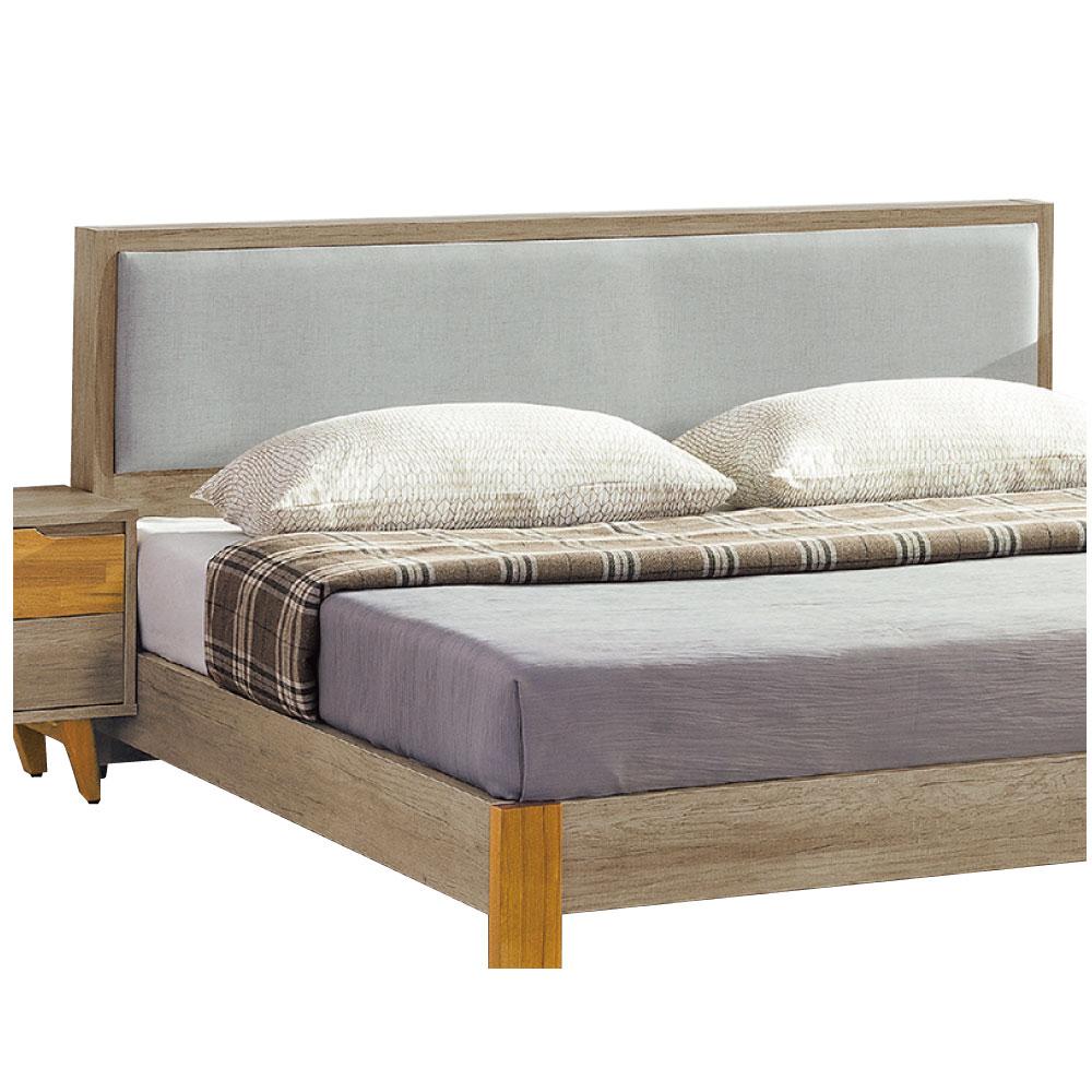 品家居 赫達5尺橡木紋耐磨皮革雙人床頭片-152x15x90cm免組