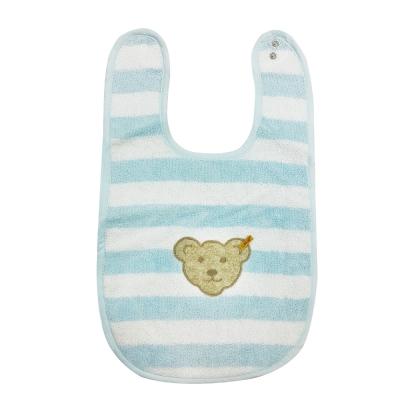 STEIFF德國金耳釦泰迪熊 - 藍色橫條圍兜 (嬰幼兒衛浴系列)