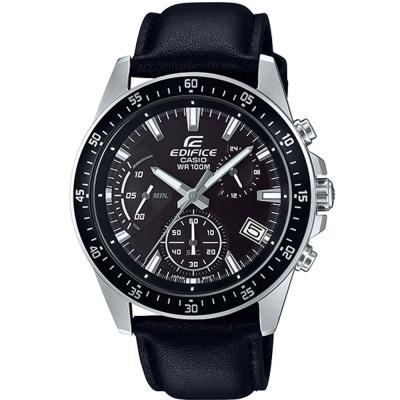 EDIFICE魅力釋放簡約時尚三針三眼指針皮帶錶(EFV-540L-1A)黑面43.8mm