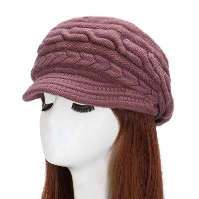 幸福揚邑 麻花針織毛線帽防風保暖加絨貝蕾帽兔毛帽-粉紫