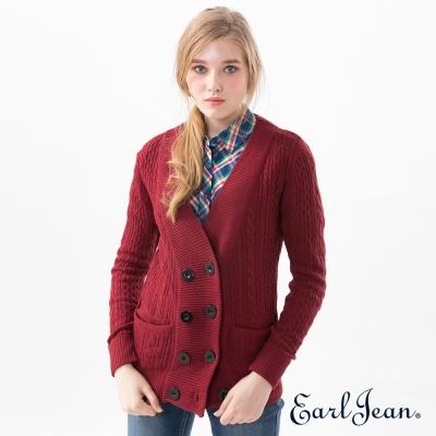 Earl Jean 雙排扣針織外套-暗紅-女