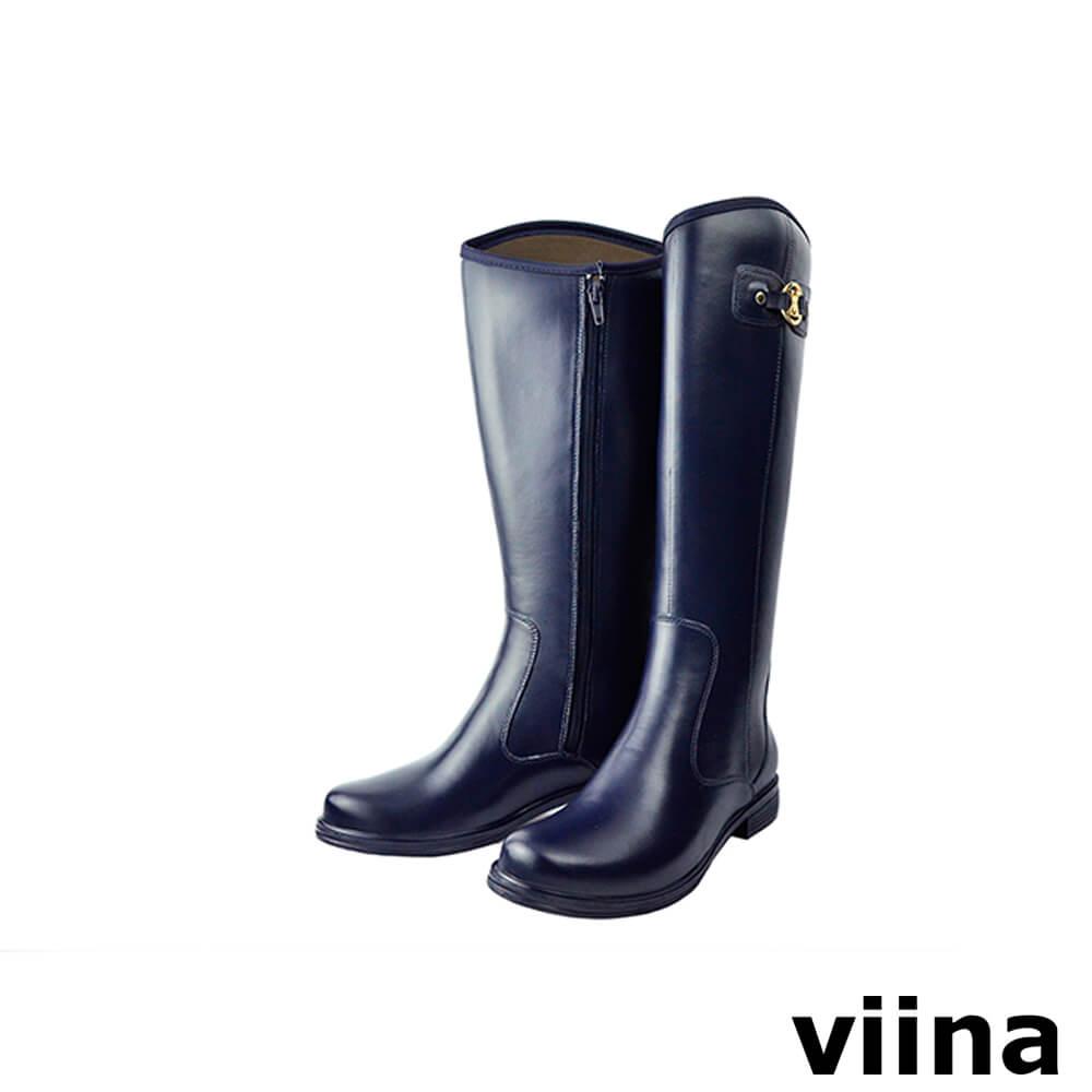 viina 側扣圓口長筒雨靴-藍色